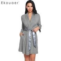 Ekouear Women Casual Robe Front Open Bathrobe Regular Fit Patchwork Belt Comfortable Sleepwear Bathroom Spa Robe