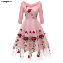 d79dab19b7649 In Stock Embroidery Roses Evening Dresses Three Quarter Sleeve Elegant  Short Cheap Simple Pink Formal Dress