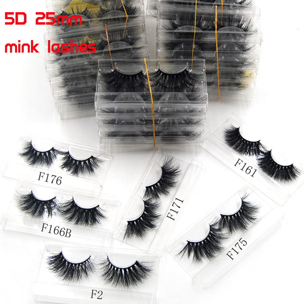 30pcs wholesale 5D 25mm mink eyelashes 100 Cruelty free Lashes Handmade Reusable Natural Eyelashes Popular False