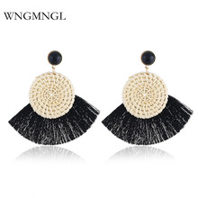 WNGMNGL 2018 New Arrival Fashion 11 Colors Wood Rattan Weave Drop Tassel Earring for Women Female Fringed Statement Jewelry Gift