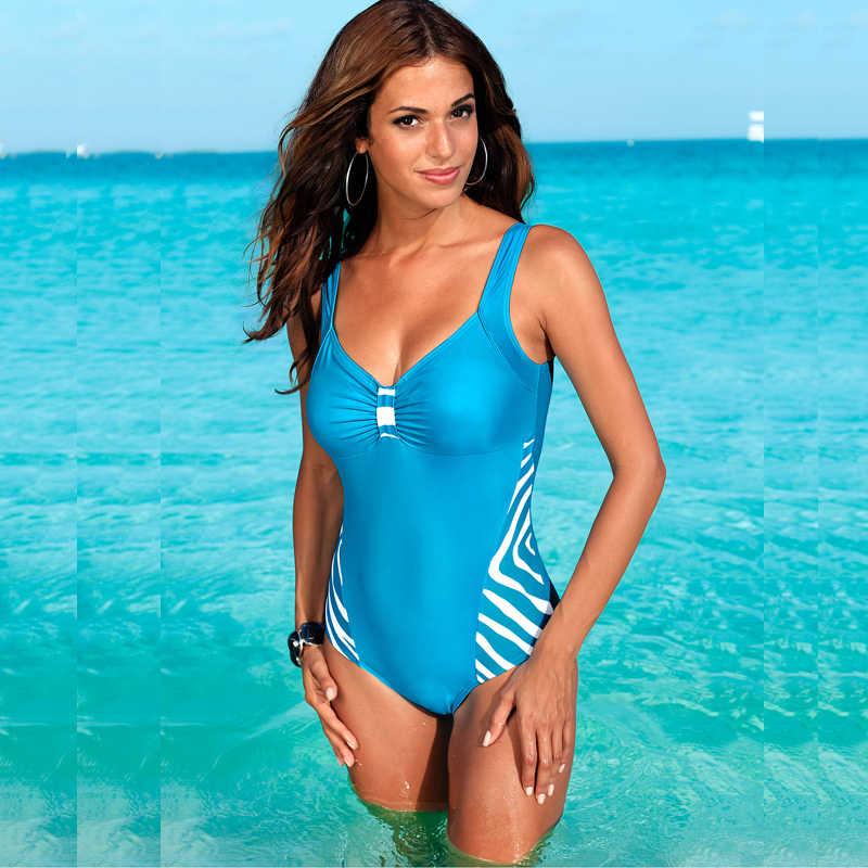 598e84a237 ... NAKIAEOI 2019 Newest One Piece Swimsuit Women Bathing Suits Vintage  Summer Beach Wear Swim Suit Stripe ...
