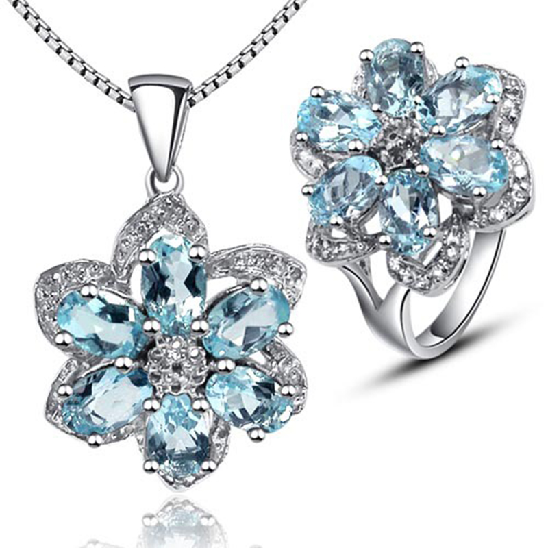 Fashion gemstone silver jewelry set for party natural sky blue topaz ring and necklace pendant jewelry set solid 925 silver setFashion gemstone silver jewelry set for party natural sky blue topaz ring and necklace pendant jewelry set solid 925 silver set