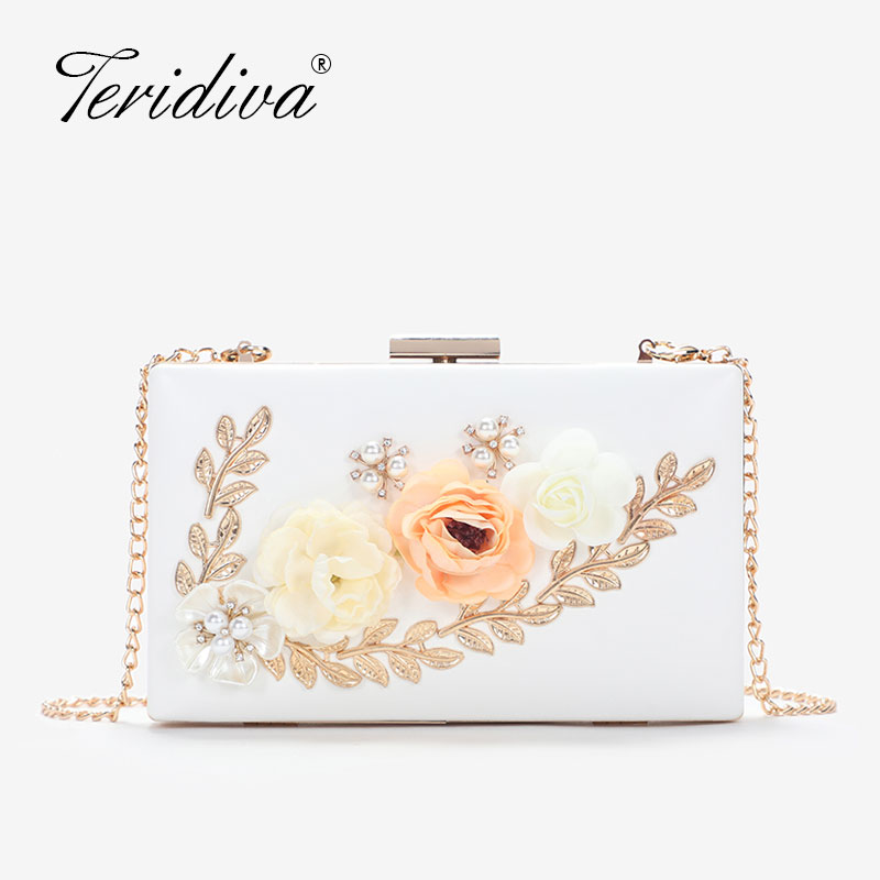 Evening-Bag Handbags Pearl Purse Flower Chain-Shoulder Small-Day-Clutch Fashion Women