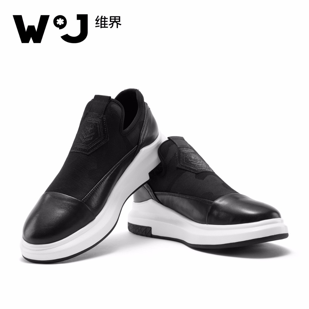 W.J Genuine Cow Leather Mens Shoes Thick Sole Elevator Spring Summer Autumn Casual Breathable Sneakers for Men genuine leather mens oxford shoes breathable men flats casual martin boots shoes 2017 spring autumn summer lace up unisex shoe