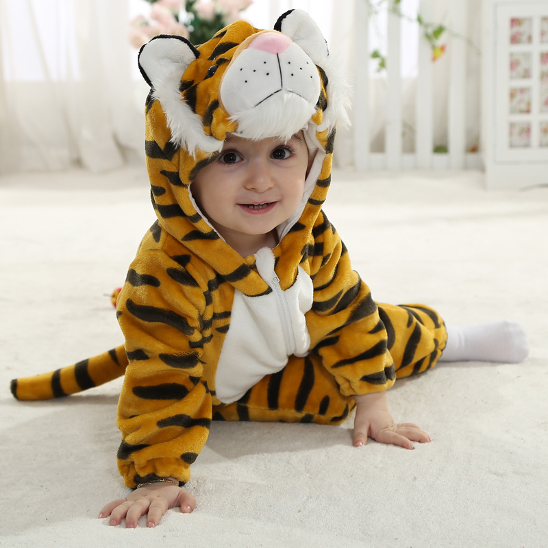 Baby Girls Clothing Autumn Fashion Outfits Tiger Infant Animal Costumes  Clothes Flannel Baby Boy Rompers New Arrivals d91bed9d918f