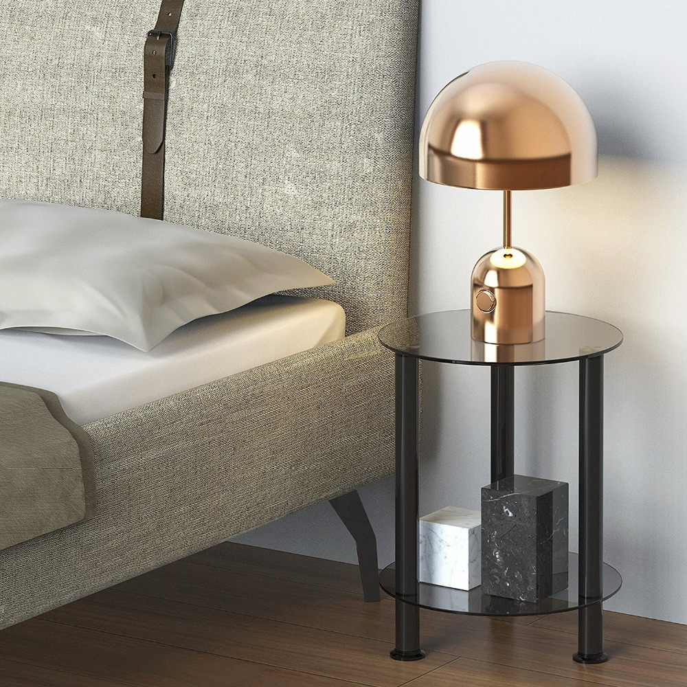 Fitueyes Grey Glass End Table Accent Side Table Coffee Table Round DT203801GT