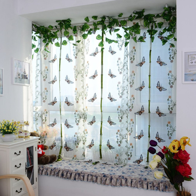 Bedroom Erfly Curtain Pulling Curtains Bay Window Balcony Fan Shaped Embroidery Screening For Living