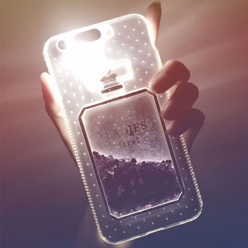 Light Up Case for iPhone 7 8 6 6S Plus 5S 5 SE Case Luxury Glitter 3D Perfume Bottle Quicksand Soft Silicone Clear Cover Girl