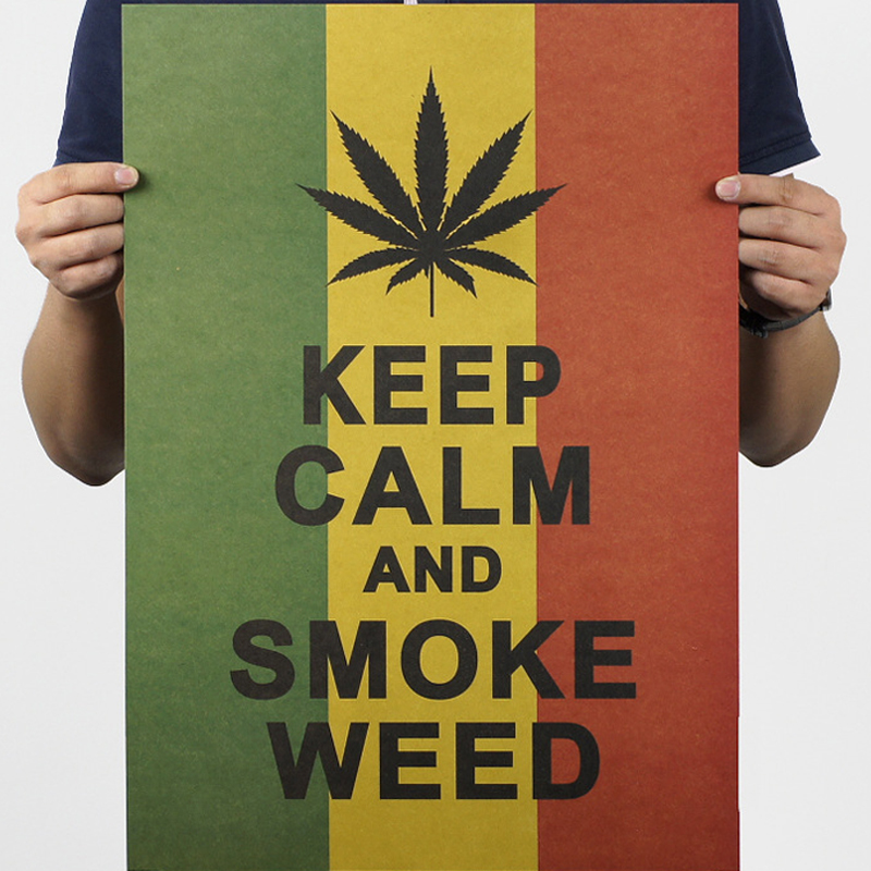 About 51.5*36cm  Kraft Paper Jamaica Reggae Style Keep Calm And Smoke Weed Poster Wall Sticke