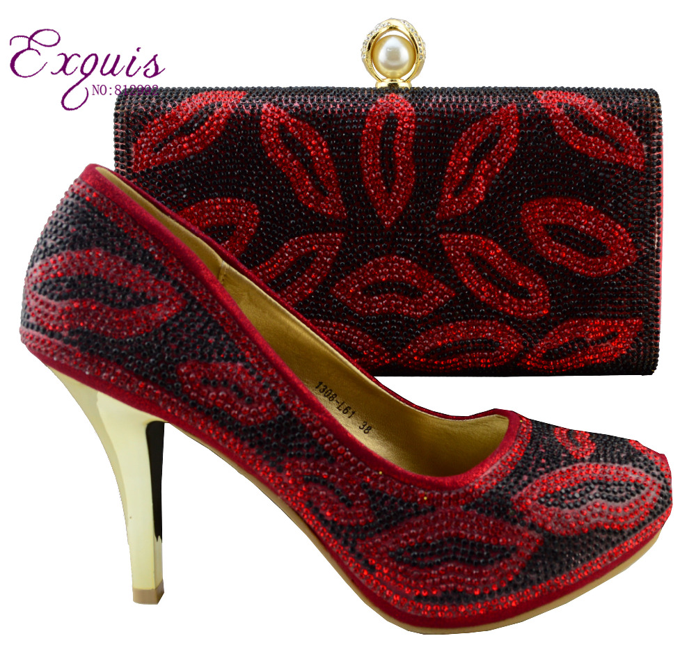 ФОТО Shoes woman!! 2015 NEW   Italy style sexy lady high heel shoes with matching bag  in 1308-L61 red size 38-42