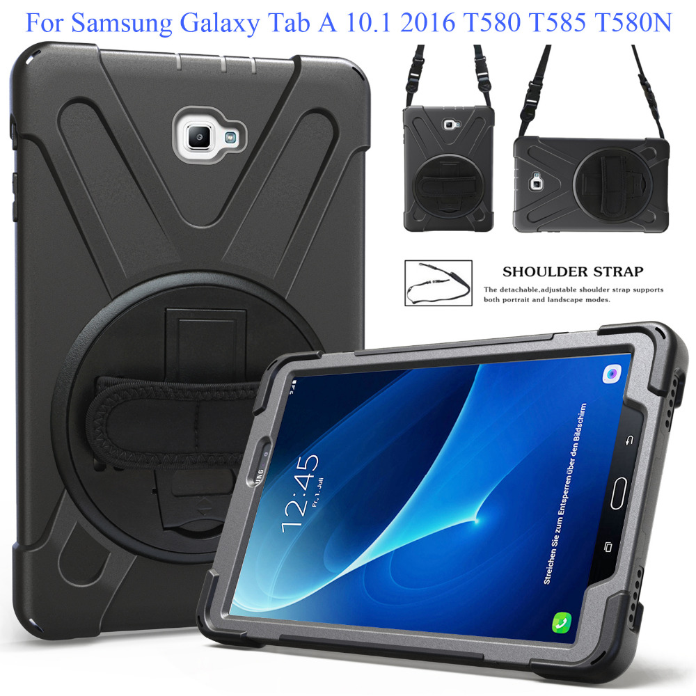 For Samsung Galaxy Tab A 10.1 2016 T580 T585 Kids Safe Shockproof Heavy Duty Silicone+PC Kickstand Case Wrist+Shoulder StrapFor Samsung Galaxy Tab A 10.1 2016 T580 T585 Kids Safe Shockproof Heavy Duty Silicone+PC Kickstand Case Wrist+Shoulder Strap