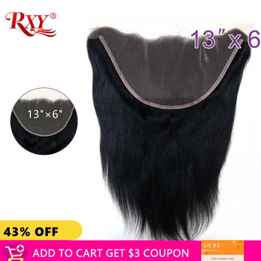 RXY Peruvian Straight Lace Frontal Closures 13x6 Lace Closure 100 Remy Human Hair Closure Pre Plucked