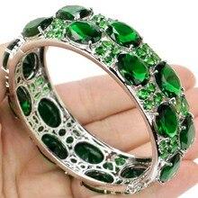 """Новое поступление 2017 года большой Размеры зеленый emerals серебряный браслет женские свадебные 8.0 """"24×20 мм"""
