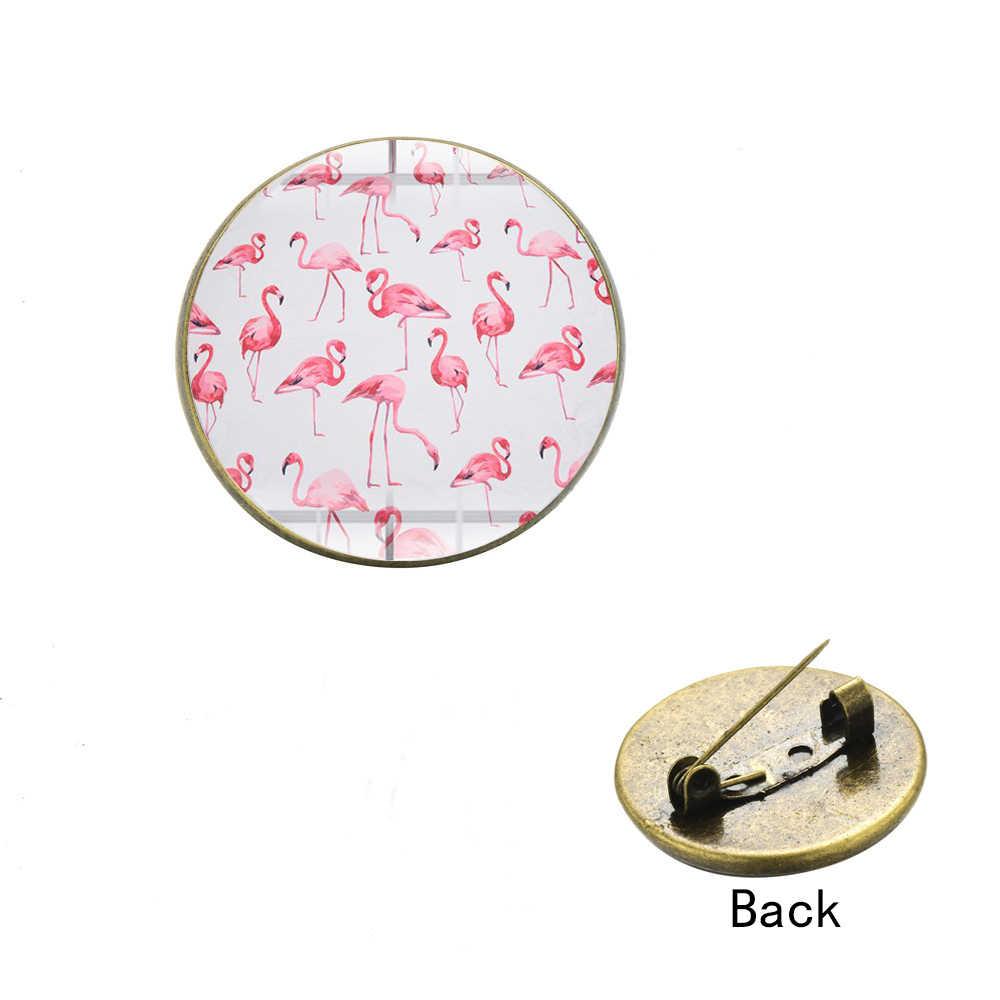 SIAN Cartoon zwierząt kształt Flamingo broszki ładny różowy ptak i kwiaty dżungli ikony 3D drukowane okrągłe broszka plecak metalowa plakietka