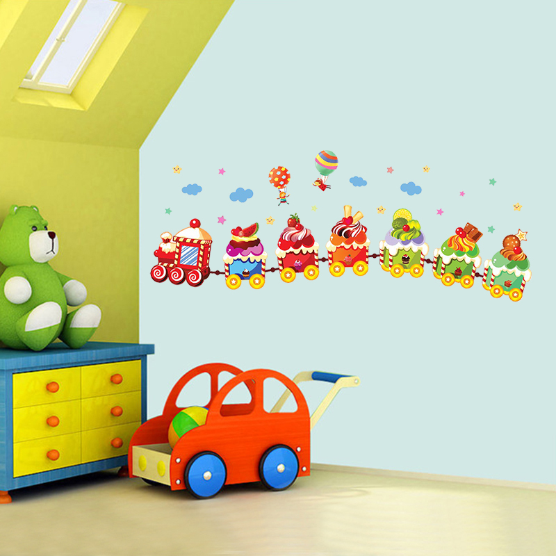 Removable ice cream train for kids baby nursery wall decals decorative wall decor chidren mural wallpaper stickers