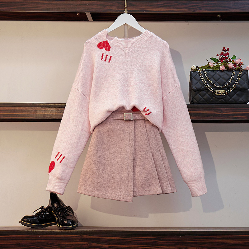Kawaii Preppy Style  Knitting Heart Sweater & Wool A-line Mini Skirt