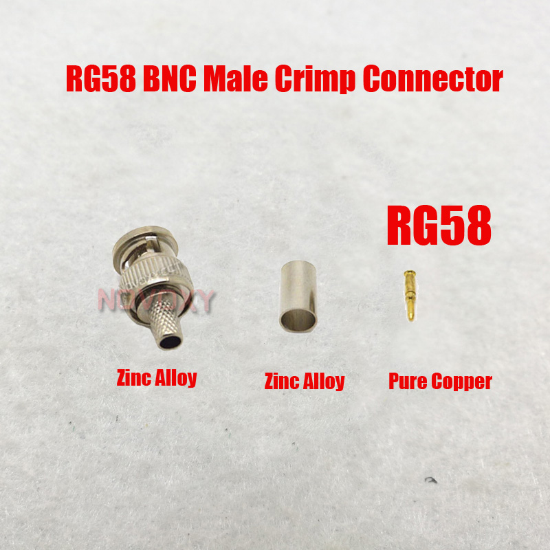 Free Shipping  BNC Male Crimp Plug For  RG58 Coaxial Cable, RG58 BNC Connector  3-piece Crimp Connector Plugs RG58