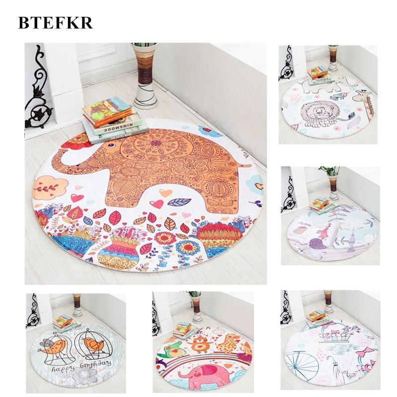 Kids Play Rug Play Game Mat Children Cute Cartoon Pattern Carpet Baby Sleep Nest Round Children Room Carpet Baby Gym Speelkleed forest pattern skidproof flannel rug