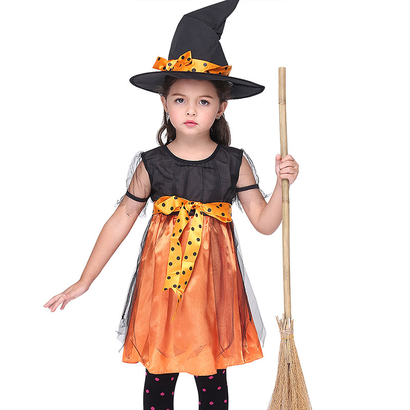 Kid Girls Halloween Evil Cute Broom Witch Hat Costume Pumpkin Orange Dress Funny Cosplay Outfit Gift For Child Toddler Baby 3-9T