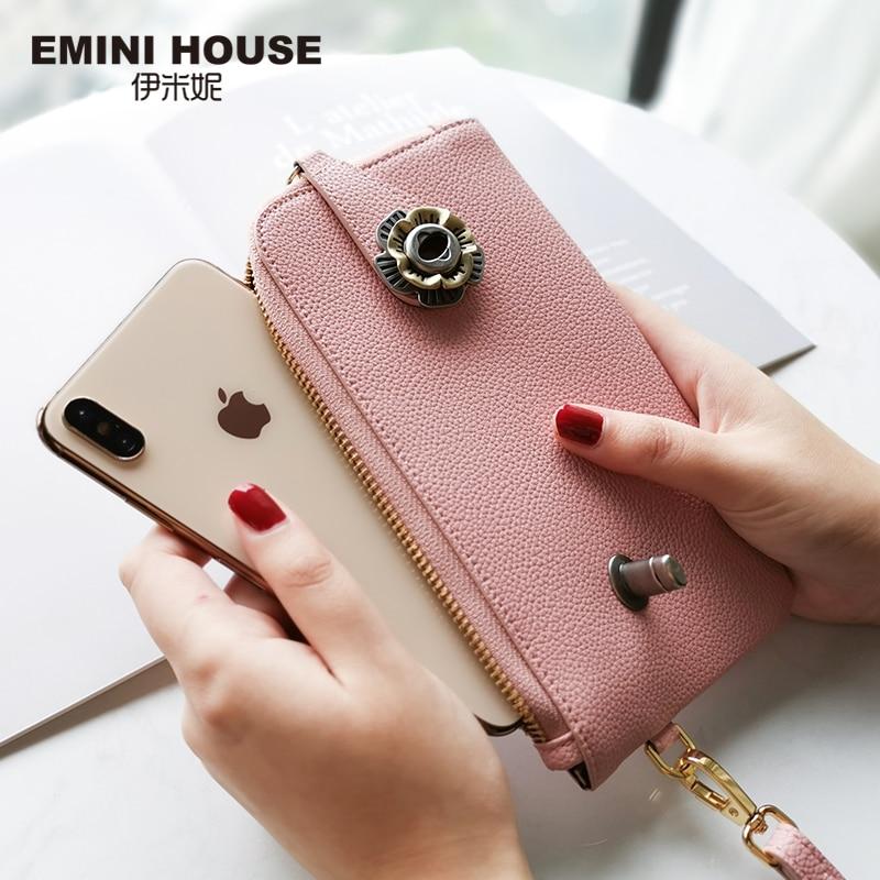 EMINI HOUSE Camellia Clutch Bag Split Leather Crossbody Bags For Women Shoulder Bag Envelope Casual Clutches