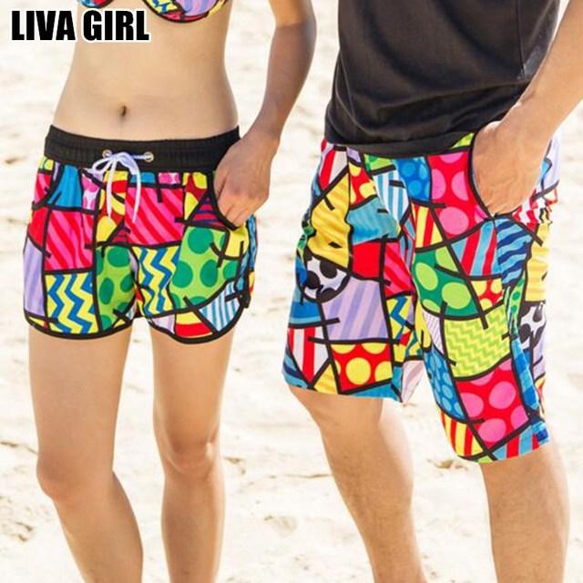 Liva Menina New Hot Homens Mulheres Colorido Impresso Praia Shorts praia de Secagem Rápida Para O Sexo Masculino Feminino Casal Roupas Top Confortável qualidade
