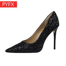 Summer high-heeled shallow mouth pointed sparkle sequins sexy slimming nightclub super high-heeled American style Women's shoes