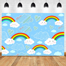 Cute Rainbow Baby Child Birthday Background for Photo Shoots Blue Sky and White Clouds Photography Backdrops For Studio