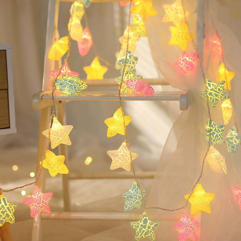 Multiple color star shape Battery Operated Led String Lights, Holiday Festival Decor Lights, Christmas lighting,Room DIY props