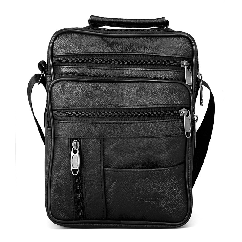 Dreamlizer Real Cowhide Leather Men Handbags Black Male Messenger Bags Men's Small Strap Adjustable