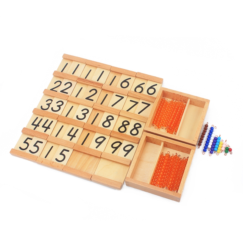 Montessori Teaching Math Toys Teens And Tens Seguin Board With Beads Bars Wood Toys Early Childhood Education Preschool Training