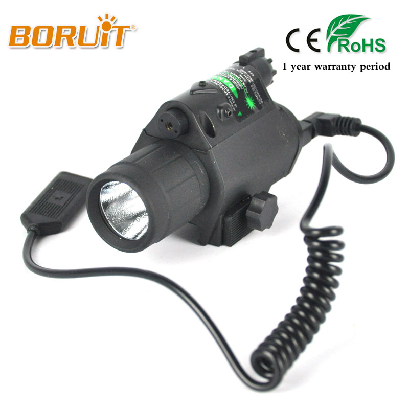 BORUIT Q5 LED 1000 Lumens Flashlight Torch Light Scope Picatinny Mount for Pistol/Gun Tactical Insight Green Laser For Hunting xl nxf rg 5mw green laser gun sight w weaver mount led flashlight black 3 x cr 1 3n