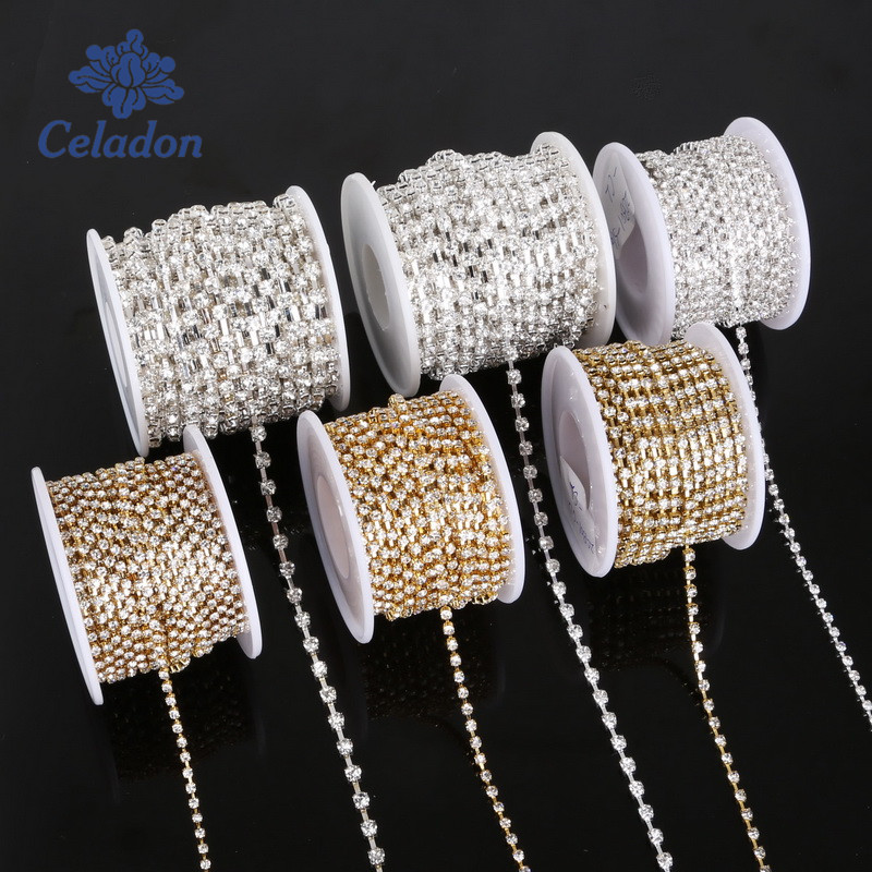 10 yard Transparent Rhinestone For Cloth Applique Chain Bridal Wedding Dress Costume Trim DIY Sewing Accessories Clothes image