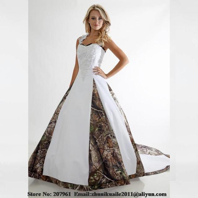 White Camo Wedding Dresses 2016 Scoop A-line with Appliques beads Camouflage  2016 Modest bridal gown Court train Robe de mariage 7358307df647