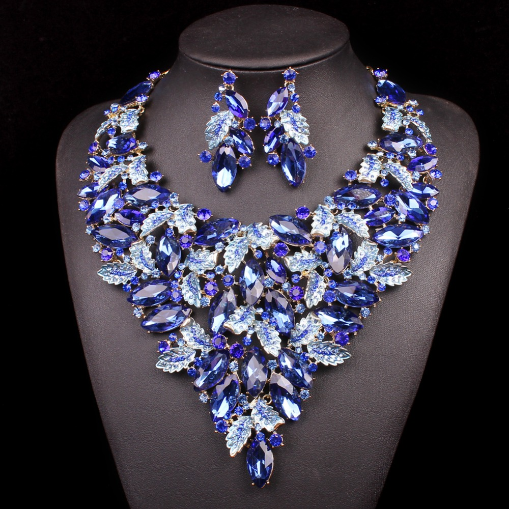 Fashion Big Jewellery Dubai Necklace Earrings Bridal Jewelry Sets For Brides Party Prom Wedding Accessories Decoration