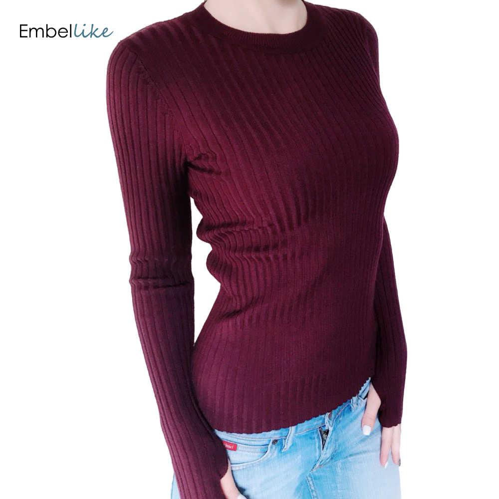 Sweter z dzianiny damskie podstawowe prążkowane bawełniane bluzki z dzianiny stałe wycięcie pod szyją podstawowy sweter swetry na długi rękaw z otworem na kciuk