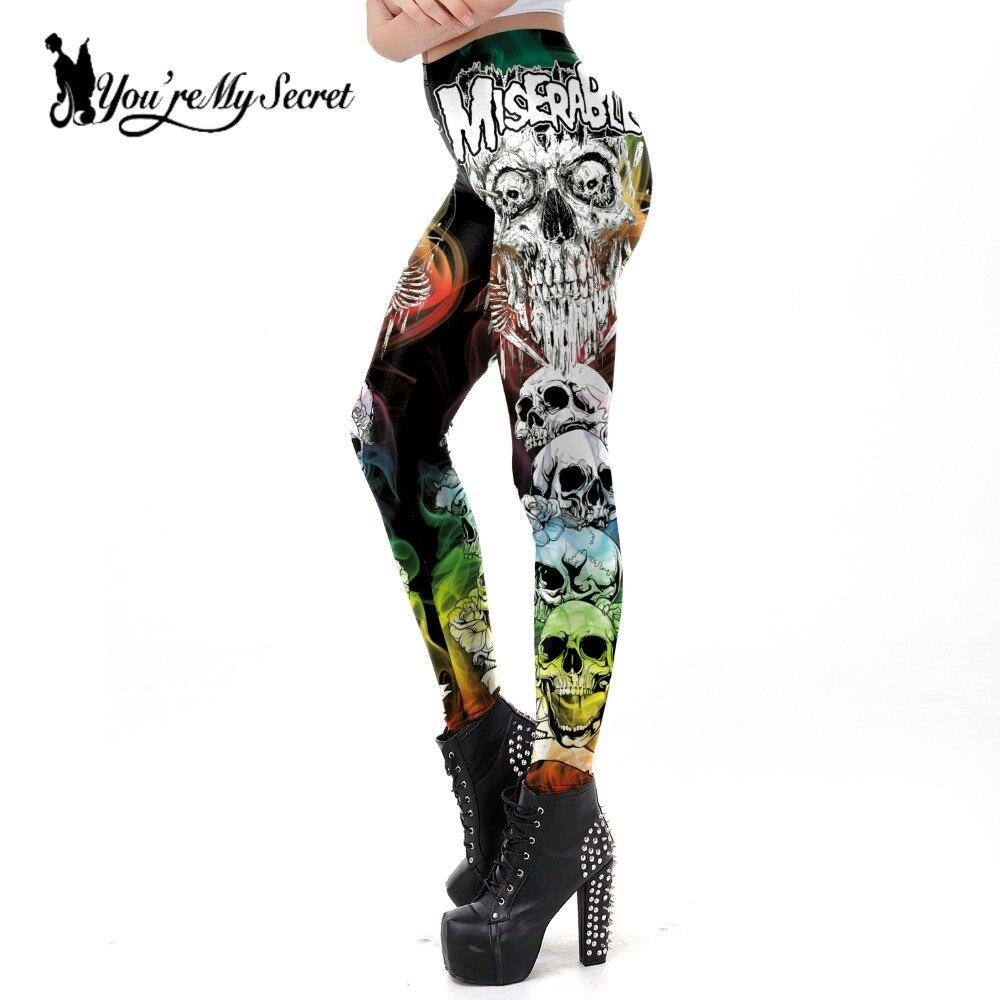 [You're My Secret] Halloween Miserable Skull Leggings For Women Trending Product 2019 Gothic Cross Tomb Legins Ghost Ankle Pant