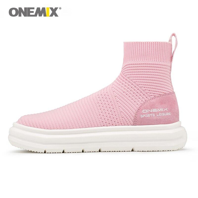 Onemix unisex sock ankle boots men height increasing walking shoes for women outdoor trekking sneakers knitting