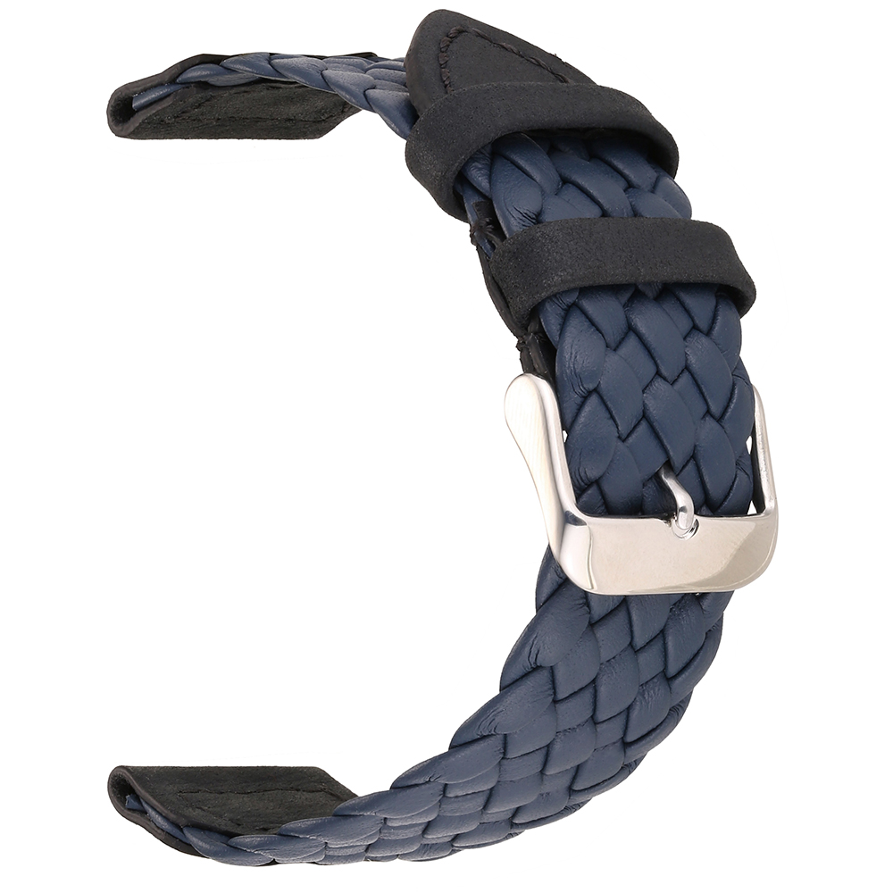EACHE 20mm 22mm Genuine Leather Watch band blue black brown Braid By hand High Quality straps