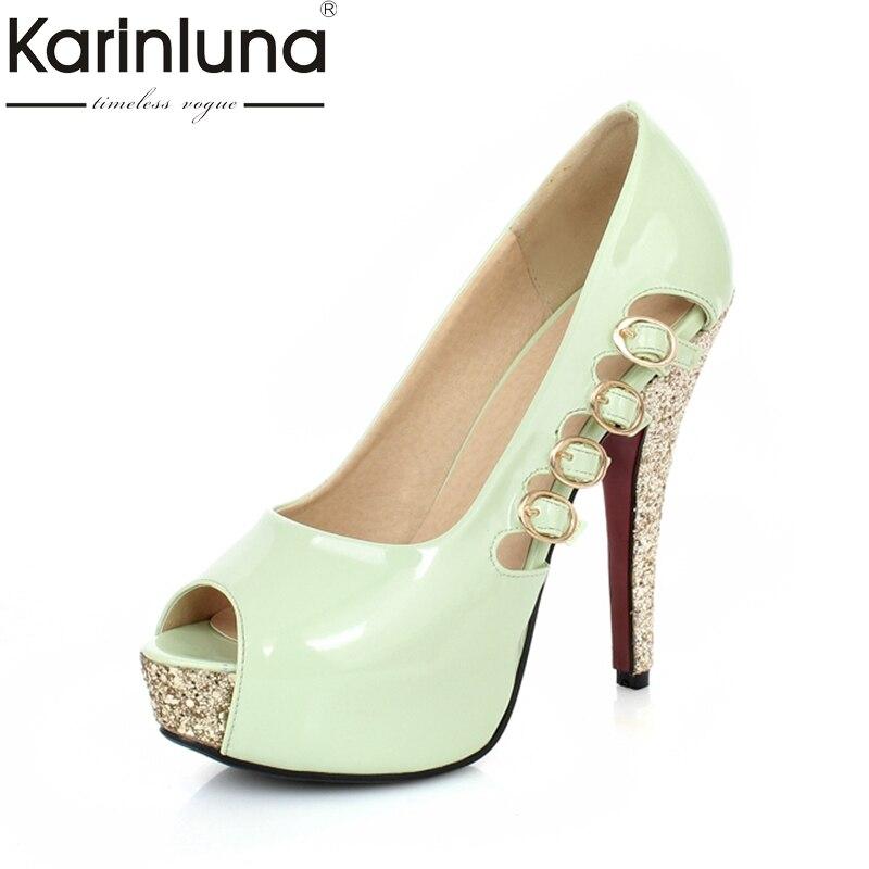 KARINLUNA buckles brand shoes women peep toe party women shoes sexy pumps platform thin high heels bride wedding shoes woman luxury brand shoes women peep toe