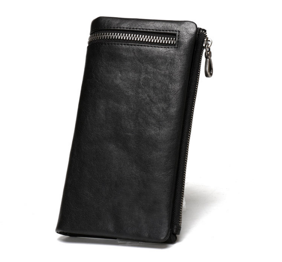 Top Fashion Genuine Leather Mens Wallets Brand Zipper Designhead Cow Leather Long Men Purse Male Clutch Vintage Purse Coin Bag ivotkova top quality cow genuine leather men wallets fashion splice purse dollar bag price carteira masculina free shipping gift