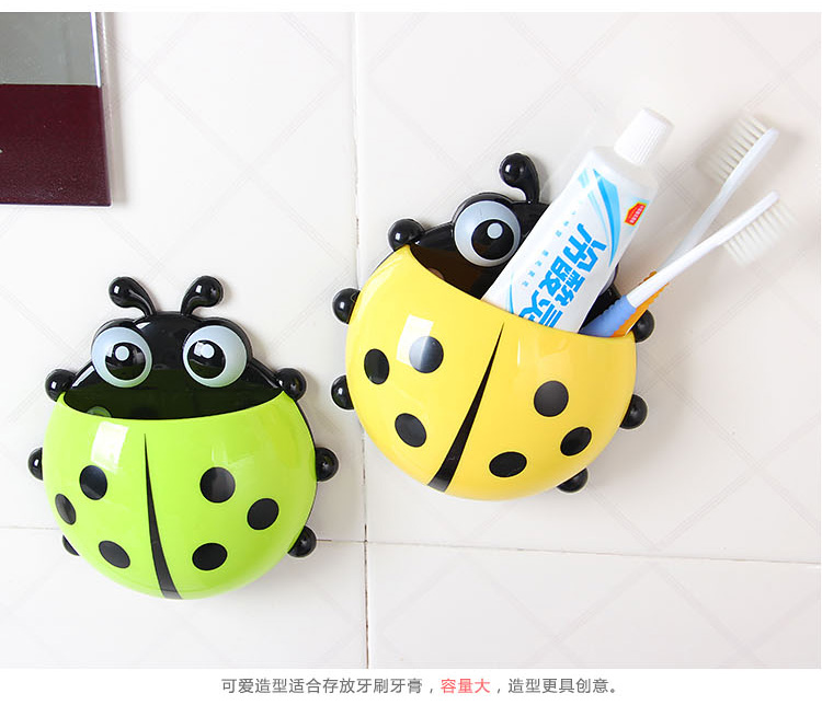 1pcs Lovely Ladybug Frame Sucker Toothbrush Toothpaste Suit Child Gift Toothbrush Holder Bathroom Accessory Tool convenient sucker five place abs white toothbrush holder