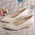 Wedopus MW407 Comfortable Wedge Shoes Ivory Lace Shoes for Wedding 3.5CM Dropshipping