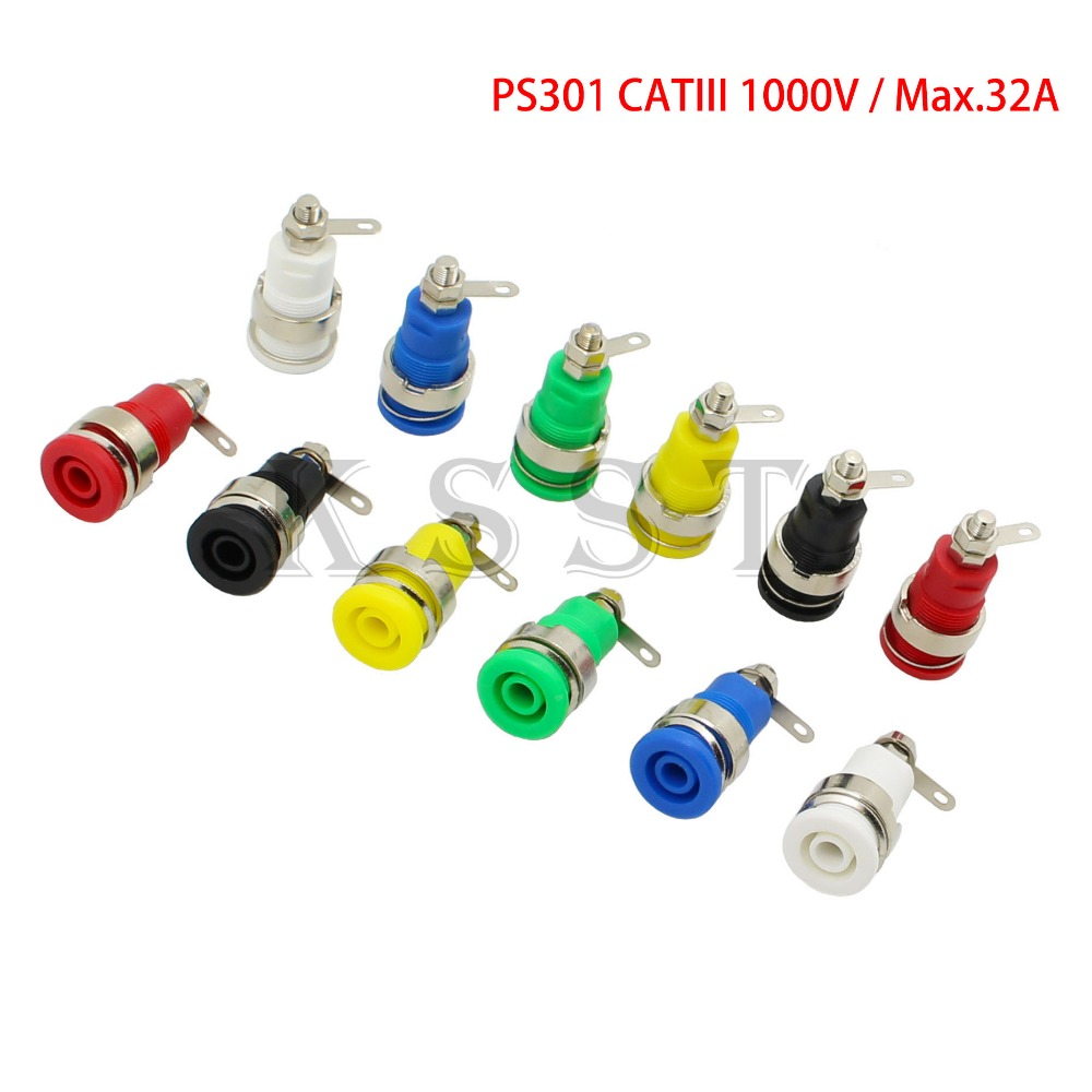 PS301 Safety 4mm panel socket solder type CATIII 1KV/32A 4mm Insulated Chassis Socket 4mm Banana Socket 100pcs bnc female socket plug panel chassis solder rg59
