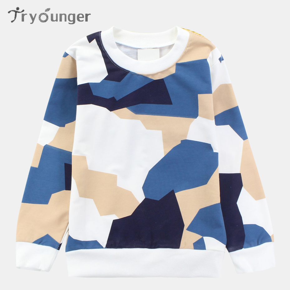 Tryounger Big Boys Long Sleeve T-Shirts 2018 Spring Children T Shirts Kids Outerwear Camouflage Kids Teenager Clothe Age 3-13 T