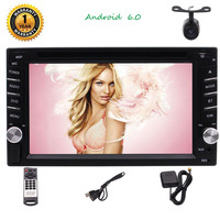 Android 6.0 2 Din Car Stereo Autoradio Bluetooth Hands free Car CD DVD Player Touchscreen GPS Navigation Phone Mirror, Wifi,