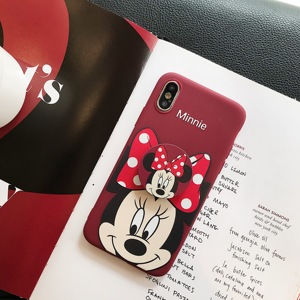 New 3D Cute Minnie Holder Ring case for iphone 6 S plus 7 7plus 8 8plus X XS XR MAX 11 Pro Cartoon girl toy phone coque capa(China)