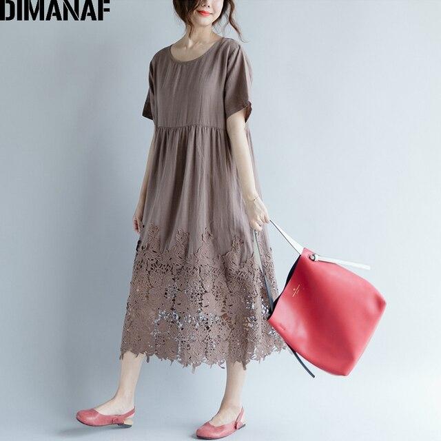 Women Dress Plus Size Summer Cotton Femme Lady Elegant Vestidos Pleated Lace Spliced Solid Black Loose Long Dresses 2