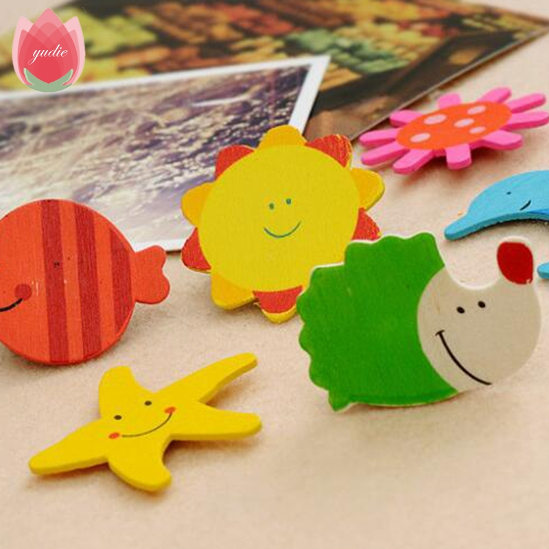 12pcs Cartoon Wood Animal Plant Magnetic Wall Sticker Home Party ...