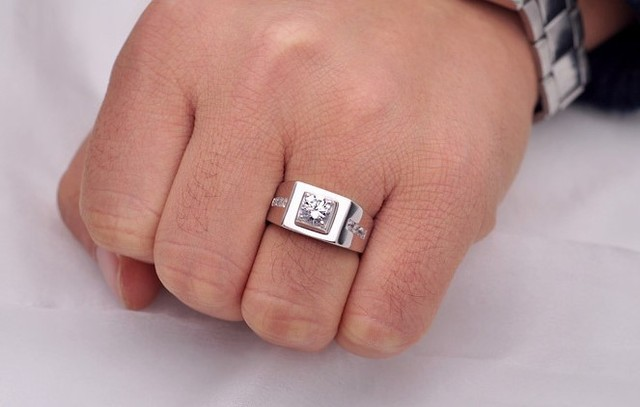 Uloveido Big Male Ring Man Silver Wedding Engagement Mens Rings for