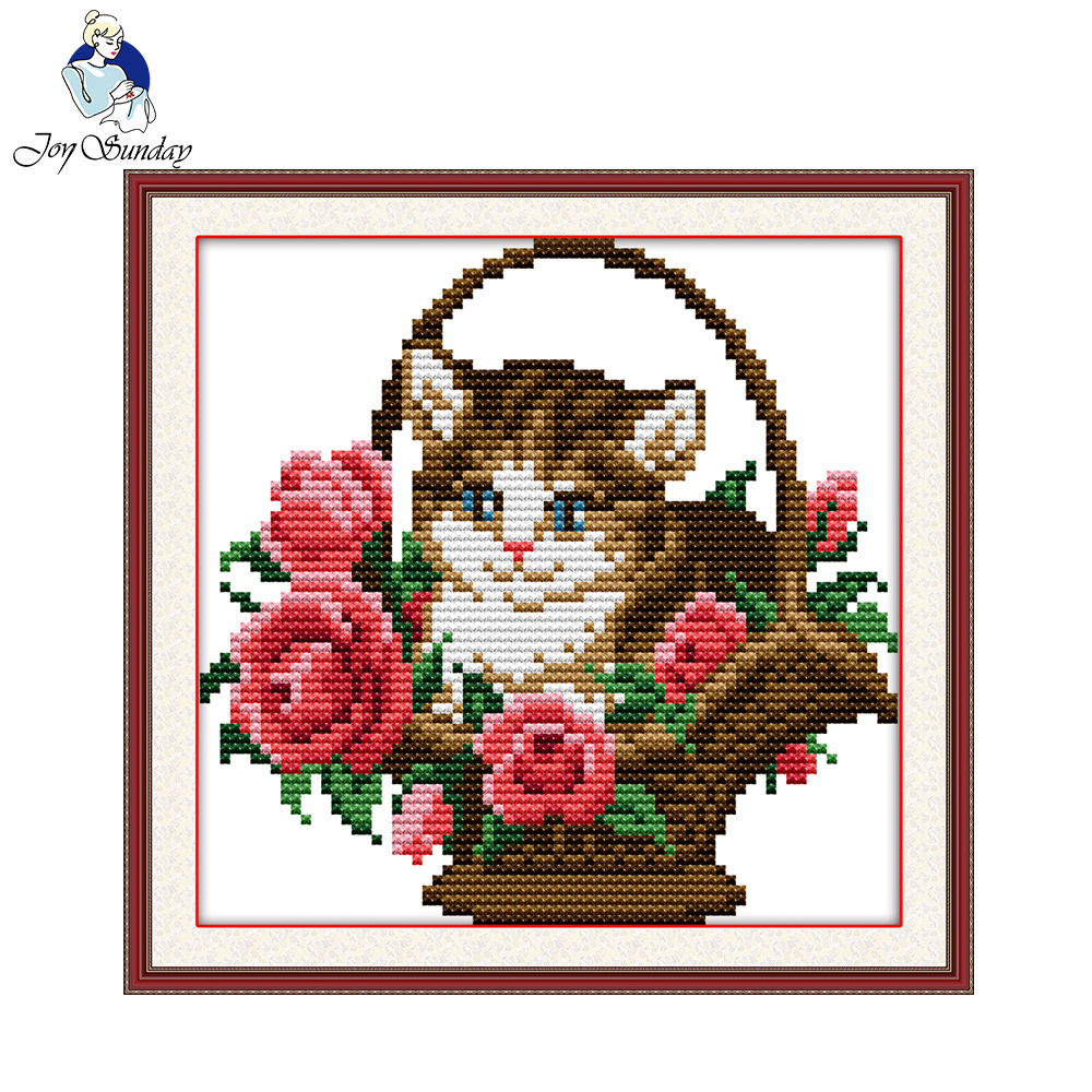 Joy Sunday Flower Basket With Cat Counted Printed On Canvas 11CT 14CT Cross Stitch Kit Needlework Sets DIY Embroidery